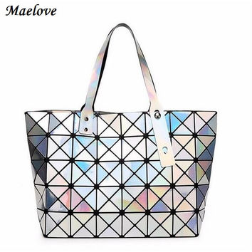 Japan Brand baobao bag Women's Diamond Lattice Tote Geometry Shoulder Bag hologram laser bag famous LOGO Inside casual tote