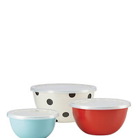 Kate Spade Set Of 3 Serve And Store Bowls Black/White ONE