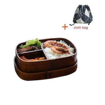 2018 New Wooden Lunch Boxes for Food Japanese Style Sushi Bento Lunchbox for Kids School Outdoor Dinnerware Bowl Food Container