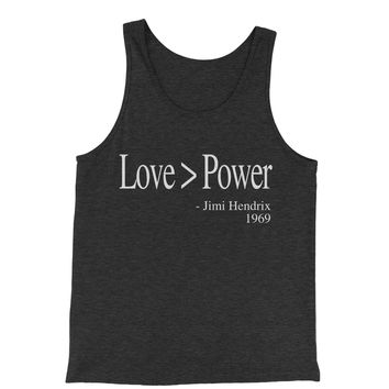 Love Is Greater Than Power Quote Jersey Tank Top for Men