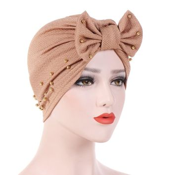 10 Colors Women Beading Bow Headwear Headwrap African Head wrap Hair Band Turban Bandana Bandage Hijab Accessories India Caps