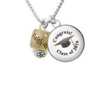 Two Tone Love Hope Faith Believe Spinner Class Of 2016 Necklace