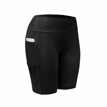 Women Summer Breathable Quick Dry Sports Elastic Running Fitness Gym Pocket Fitness Workout Shorts