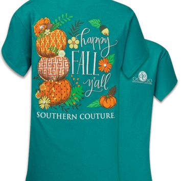 SALE Southern Couture Classic Happy Fall Yall Preppy Pumpkin T-Shirt