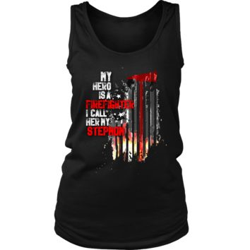 Women's Thin Red Line American Flag Firefighter Stepmom Tank Top