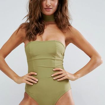 Boohoo Choker Swimsuit at asos.com