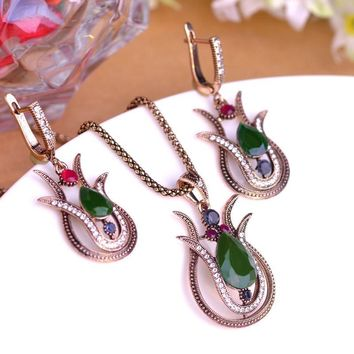 Special Design Turkish Lily Flower Jewelry Sets Green Water Drop Acrylic Pendants Vintage Necklace Princess Hooks Gold Earrings