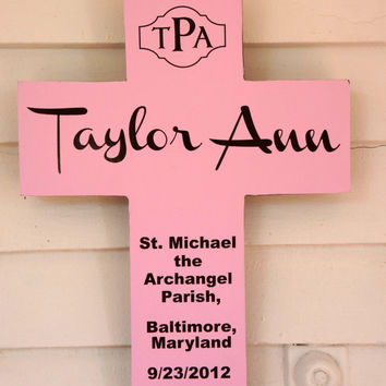 Monogrammed Gift Personalized Pine Wood Cross with Initials Quote Poem Baptism Gift Boy Girl
