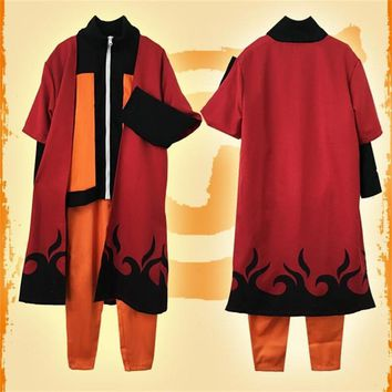 Naruto Sasauke ninja High quality Japanese Anime  Uzumaki  Cosplay Costume  Adult Halloween Party Clothes Pants Sets Cloak Kunai Prop AT_81_8