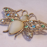 Butterfly Filigree Pin Pendant Rhinestone Jeweled Fashion Accessories For Her Nature Lover Jewelry