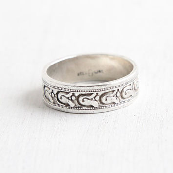 Vintage Sterling Silver Flower Eternity Ring - Retro Size 7 1/4 Cigar Wedding Style Band Milgrain Jewelry