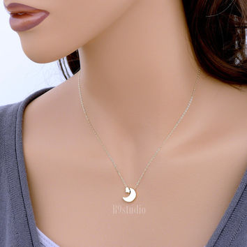 Crescent moon necklace, i love you to the moon and back, tiny heart small charm pendant, delicate, 14k gold filled chain, everyday jewelry
