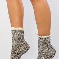 The Frill Boot Sock in Black Combo