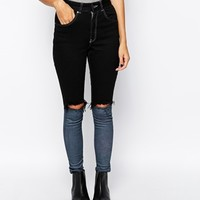 The Ragged Priest Skinny Jeans With Contrast Ankle & Knee Rips