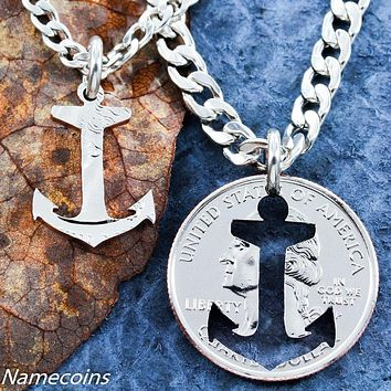 Beach Jewelry, Inside and Outside Pieces, Relationship Necklace, Coin Anchor by NameCoins