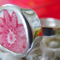 Broken China Ring Chaney Ring  Sterling Silver Ring  Red Flower Ring  Any Size 100% Handcrafted