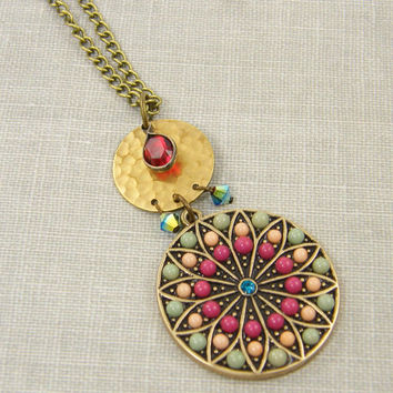 Boho Long Necklace, Colorful Necklace, Medallion Necklace, Long Necklace Pendant, Red Turquoise Gold Necklace