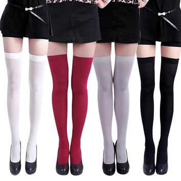Solid Color Opaque Over The Knee Thigh Socks - Women High Socks