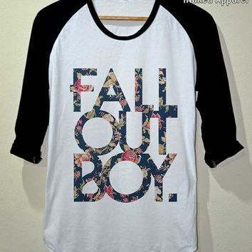 FOB Shirt Fall Out Boy Flower Vintage T- Shirt 3/4 Sleeve Baseball Unisex Size S M L