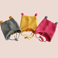 Fashion Autumn Winter Warm Cotton Baby Hat Girl Boy Toddler Infant Kids Caps Brand Candy Color Cute Baby Accessories for 6-24M