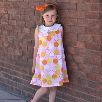 Girls Pink Yellow and Orange Citrus 1960's Vintage Inspired Rockabilly Dress with Sequin Peter Pan Collar with Rick Rack and Button Accent