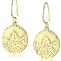 "Katie Diamond ""Samira"" Yellow Gold Engraved Disc Earrings"