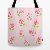 Red Roses Tote Bag by Katayoon Photography & Designs