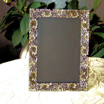 Vintage Metal Ornately Carved Picture Frame Handpainted Silver & Gold