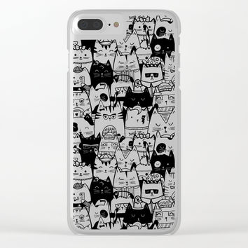 Itty Bitty Kitty Committee Clear iPhone Case by noondaydesign