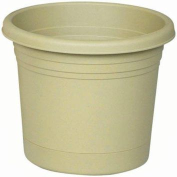 "Southern Patio RR0824OG Rolled Rim Planter w/ Attached Saucer, 8"", Olive Green"