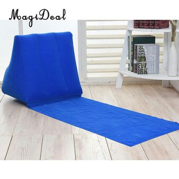 MagiDeal Inflating Beach Camping Lounger Back Pillow Cushion Chair Air Bed Blue