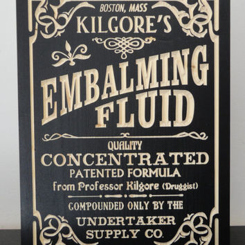 Embalming Fluid Carved Wooden Sign | Vintage Style Ad | Undertaker | Mortician Morgue Grim Funeral Advertising