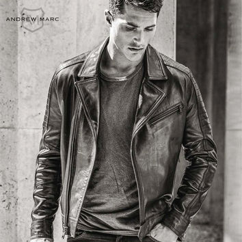 ANDREW MARC LEATHER MOTORCYCLE JACKET
