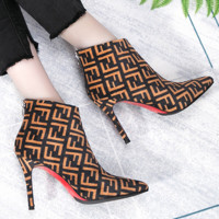Fendi Fashion New More Letter Print Pointed High Heels Shoes Boots Brown Women Brown