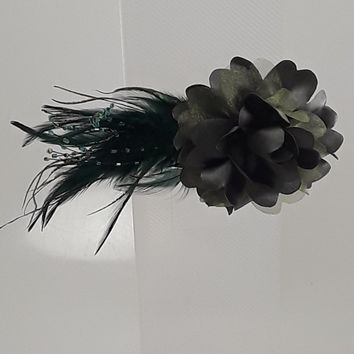 Ruffle Flower Hair Clip with Beaded Feather Tail