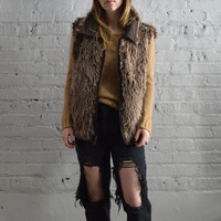 Oversized Faux Fur Vest - L
