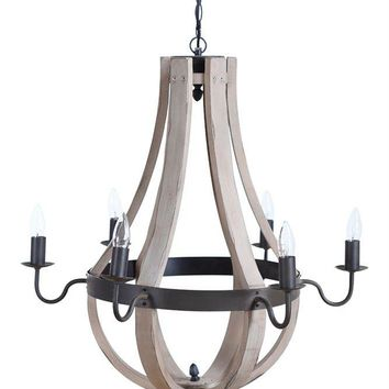 Wood & Metal Chandelier 6 Lights