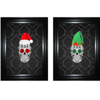 Christmas Decor Sugar Skulls Holiday picture damask 2 piece 8x10 printable wall art decor set Christmas hat Day of the Dead sugar skull