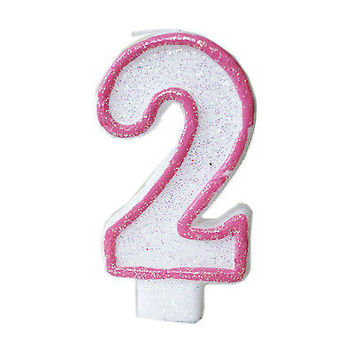 Pink Glitter Sprinkles 2 Number Candle White Premium 2nd Birthday Cake Candle