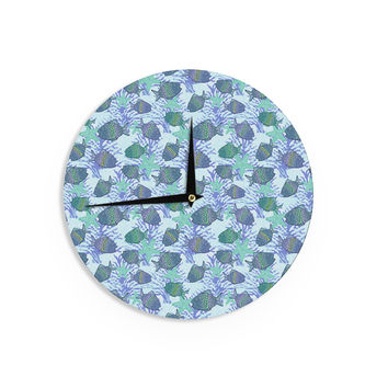 "Julia Grifol ""My Colorful Fishes"" Blue Teal Wall Clock"