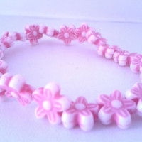 Pink Flower Beaded Stretchy Bracelet