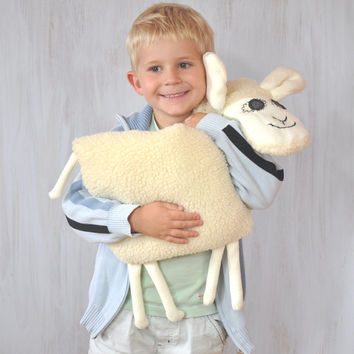 Sheep Lamb Pillow Kids Room Decor Country House Summer Whimsical Cream Animal Sweet Soft Toy Funny Plush