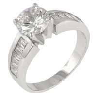 Antoinette Silver Engagement Ring, size : 10