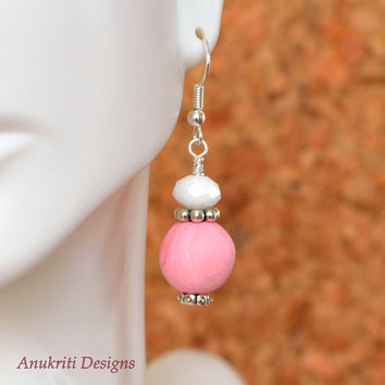Pink polymer clay dangle earrings **Free US Shipping ** Clay earrings, pink drop earrings, pink dangle earrings