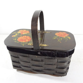 Vintage Woven Basket Purse with Hand Painted Flowers