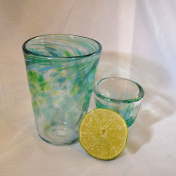 Blown Glass Barware Gift Set - Shot Glass And Highball / Collins Glass.  OOAK