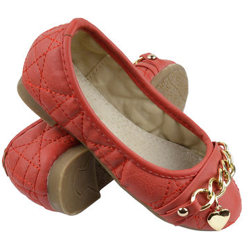 Kids Ballet Flats Quilted Gold Heart Accent Casual Slip On Shoes Red SZ