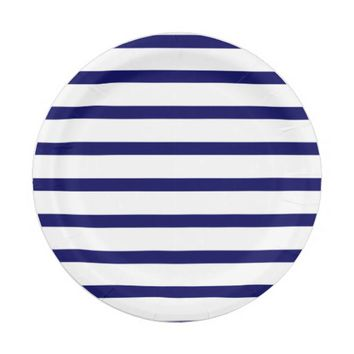 Navy Blue and White Stripes 7 Inch Paper Plate  sc 1 st  Wanelo : navy blue paper plates - pezcame.com