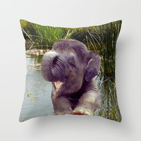 Baby Elephant Throw Pillow by Erika Kaisersot