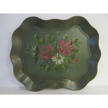 Green Tole Tray Hand Painted Floral By Nash New York